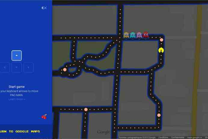 Transformer son quartier en jeu de Pac Man dans Google