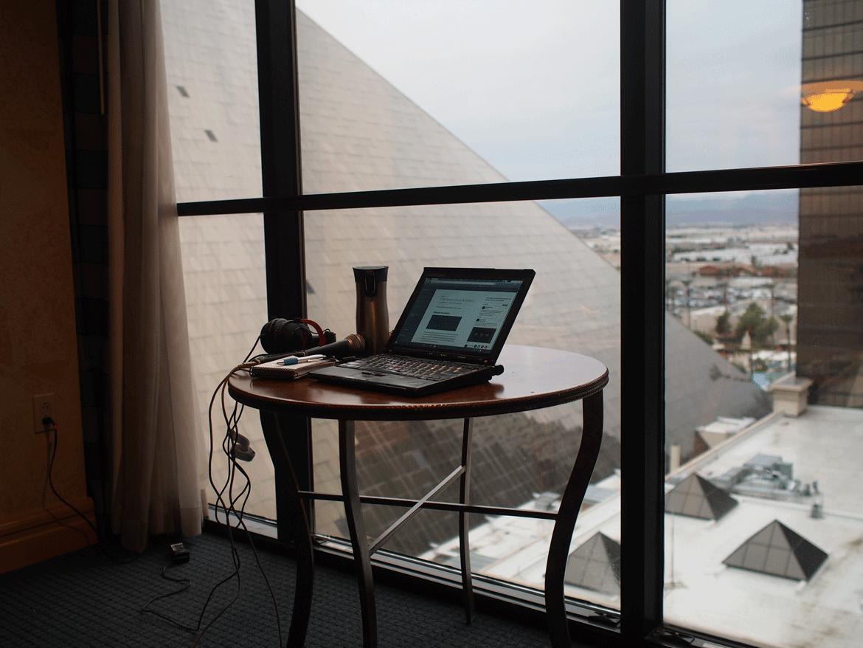 Vue de ma chambre Las Vegas CES 2016 hôtel Luxor