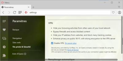 VPN gratuit intégré à Opera