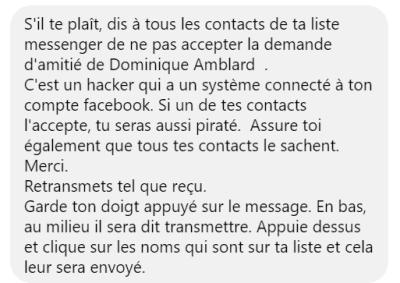 Dominique Amblard fausse alerte Facebook