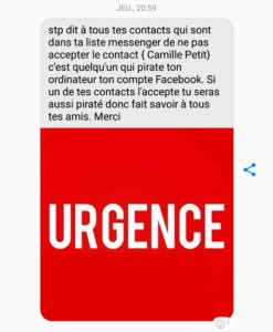 Camille petit urgence pirate Facebook liste de messsage