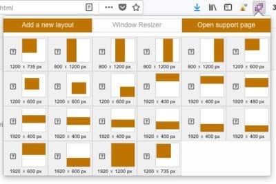 extension Window Resizer navigateur web taille écran