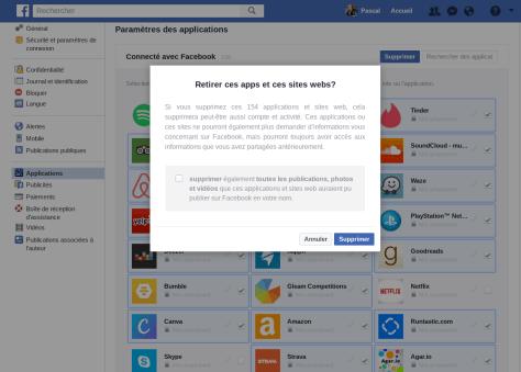 Retirer apps de sites Web connectées Facebook