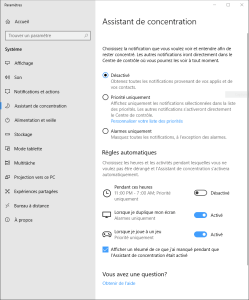 assistant concentration Windows 10 focus assist