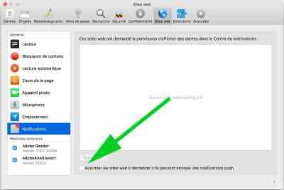 truc pour bloquer notifications push safari