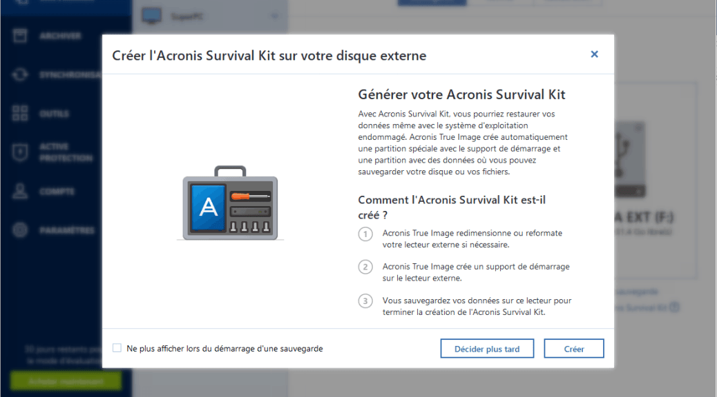 Acronis True Image 2019 Survival kit survie