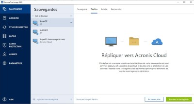 Acronis True Image 2020 interface Acronis Cloud