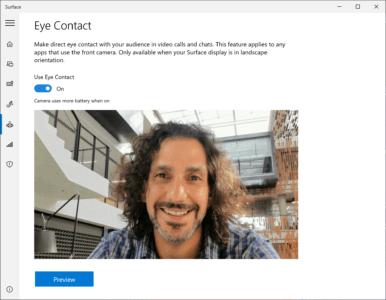 Fonction Eye contact correction du regard Windows 10 nouvelle techno