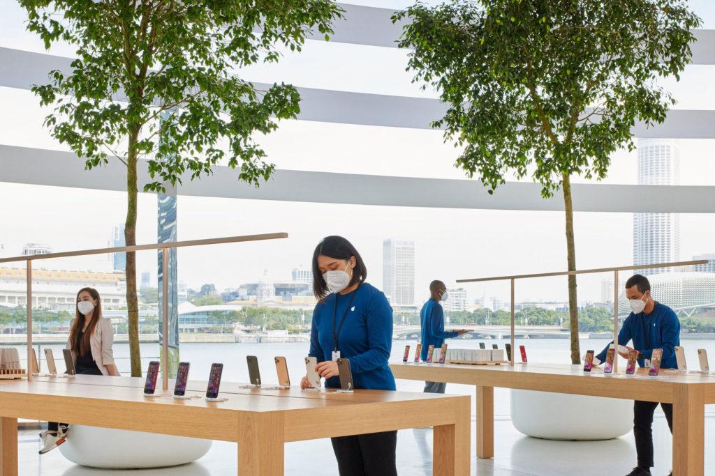 boutique apple store singapour flottante marina baie