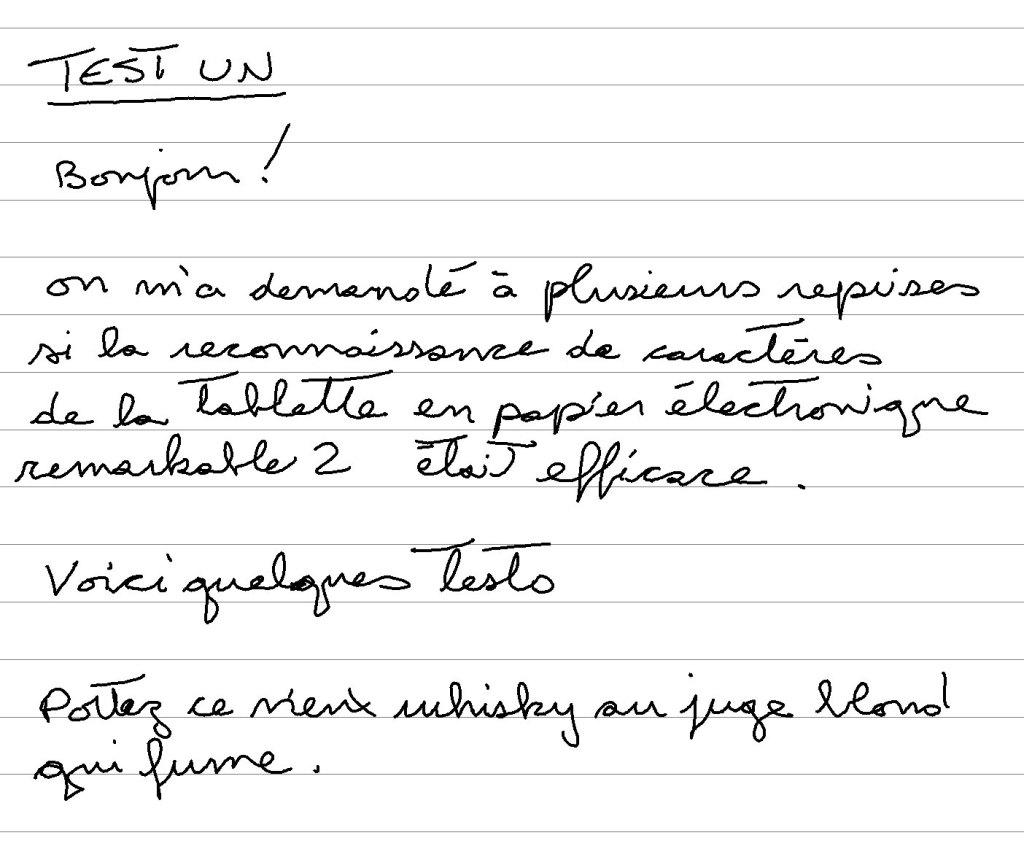 test reconnaissance caractères français reMarkable 2