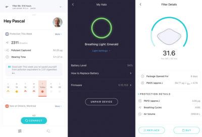 interface du masque AirPop active+ Halo