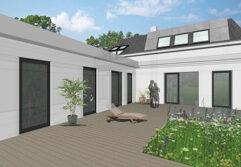 Planansicht eines Einfamilienhauses, das von Architekten saniert werden soll
