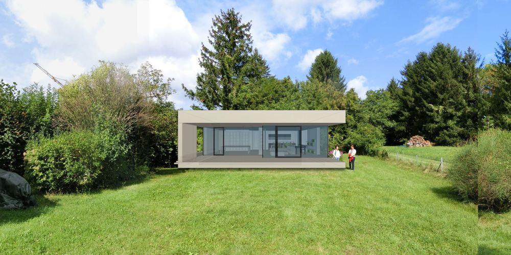 Konzept/Rendering eines Bungalows/Ateliers auf einem Grundstücksfoto