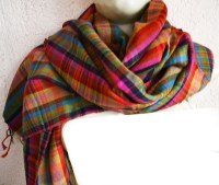 VIBRANT PLAID CHECK ~100% CASHMERE PASHMINA SHAWL/WRAP