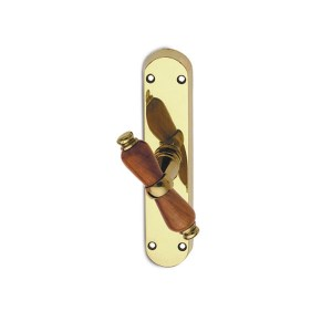 Window handle polish brass wood alfa easy