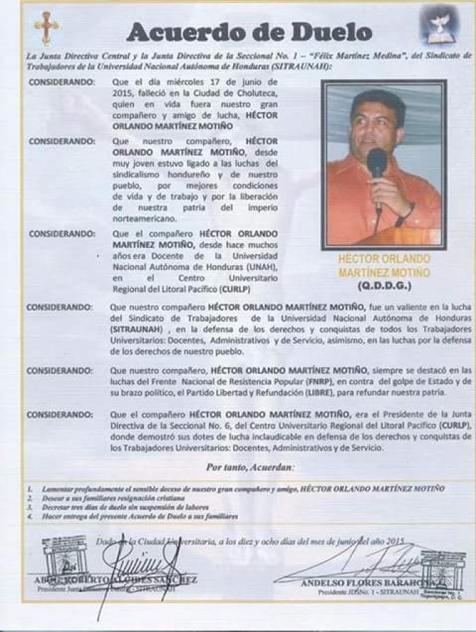 SITRAUNAH destaca la lucha inclaudicable de Héctor Martínez