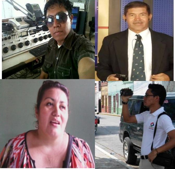 Periodistas: Oscar Corea, Gilberto Gálvez, Sandra Pérez y René Torres