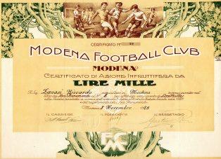 Azione di Fondazione Modena Calcio da L.1000