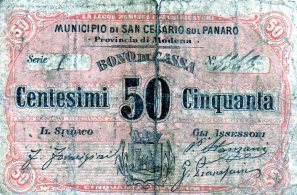 1870 Municipio di San Cesario Modena da 50 centesimi