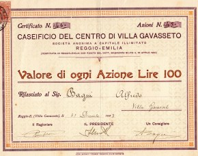 1947 Caseificio di Villa Gavassetto Reggio Emilia da l. 100