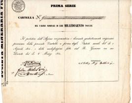 1851-Soc. MinerariaFiorentina 1 serie di 1200 lire Toscane