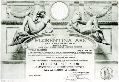 Florentina Arstitolo da 5azioni Firenze 1906 Dis.F.FABBI