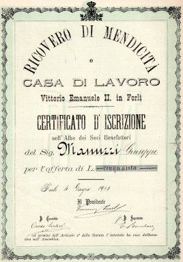 1913 Casa della Mendicita Vittorio Emanuele II Forli