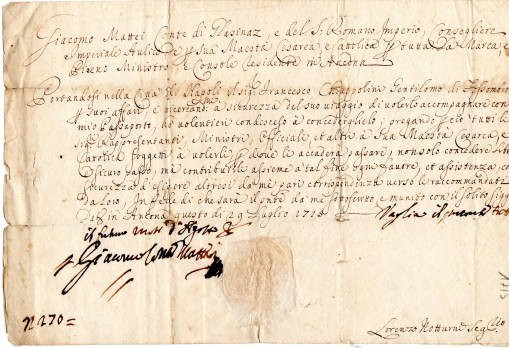 1715 Lasciapassare ''Giacomo Mattei Conte di Glasinaze del Sacro Romano Impero ecc,,dato a