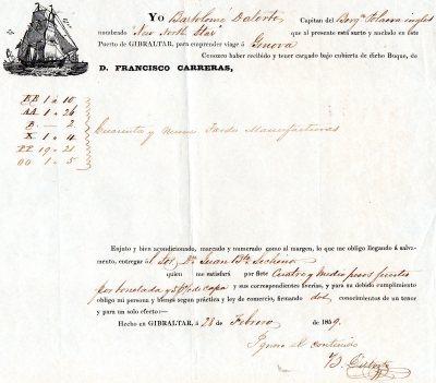 1859 Gibilterra ''D.Francisco Carreras per  Genova