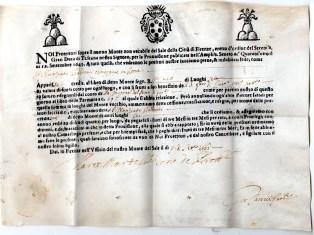 1661 Monte del Sale della citta' di Firenze da Luoghi 6 rilasciato al Nunziato Batocci dimorante in Roma firme Marco Bartolomeo de Lerott