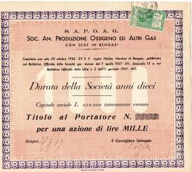 1939 Soc.An Produzione Ossigeno ed altri Gas --Bengasi