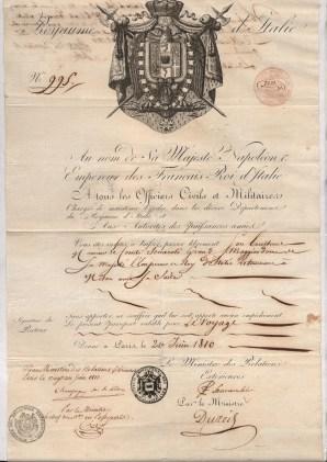 1810 Napoleone I dato a Parigi x Milano al suo Maggior