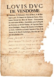 1703 Louis Duc de Vendosme dato al Campo di San Benedetto Po'' Mantova al Soldato Daniel Troys det Daniel