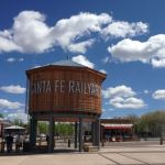 Startlingly blue skies and cotton ball clouds over the Santa Fe Railyard complex