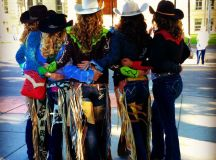 Rodeo queens at the Cheyenne Frontier Days Parade.