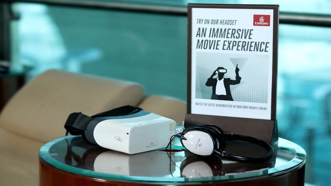 Emirates headsets in lounge 1