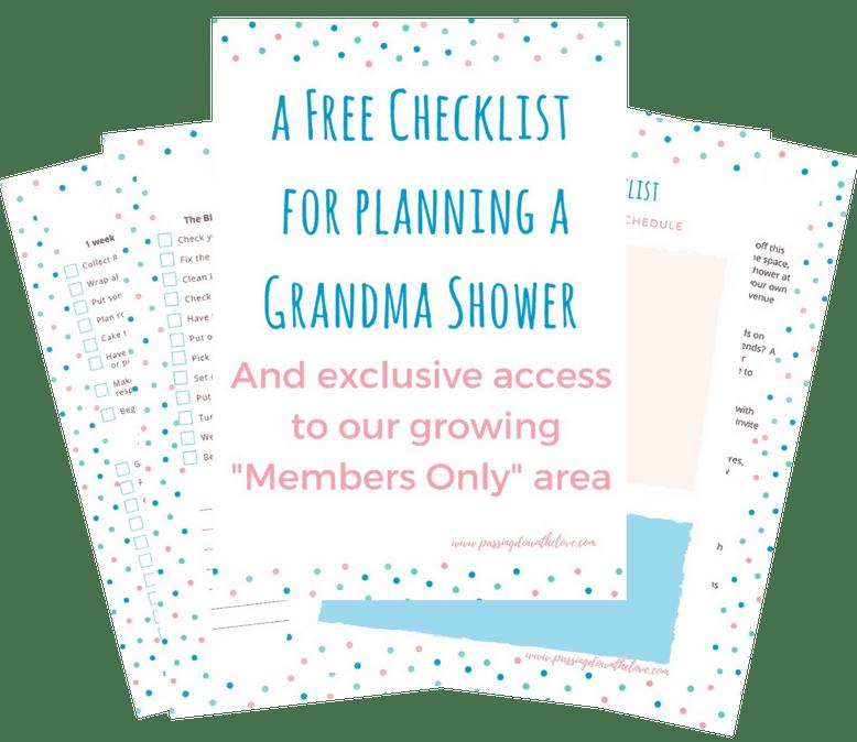 Grandmother Shower Planning Printable for hosting a Grandma shower