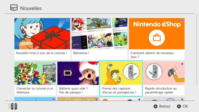 Switch Interface Menu des nouvelles