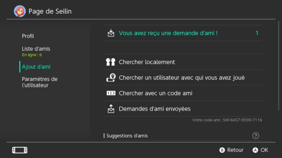Switch Interface Ajout Amis