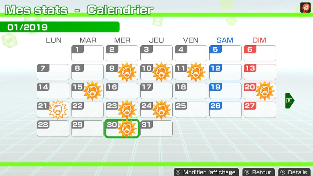 Fitness Boxing Switch - calendrier
