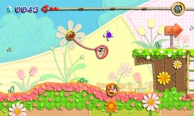 Kirby au fil de la Grande Aventure 3DS - kirby pendu