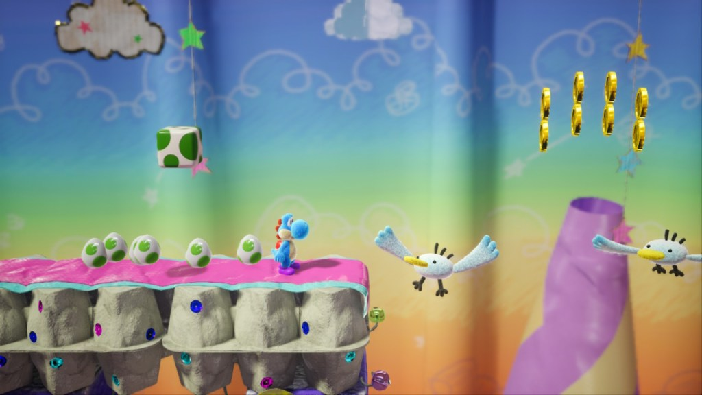 Yoshi Crafted World Switch - boites à œufs et mouettes
