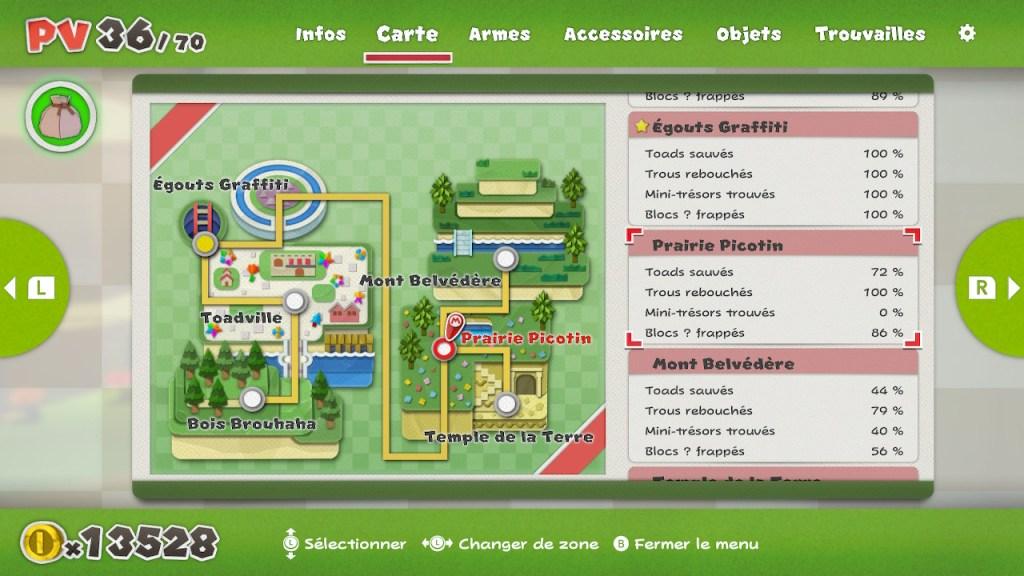 Paper Mario The Origami King - carte avec collectibles