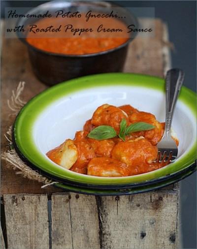 Homemade Potato Gnocchi with Roasted Pepper Cream Sauce