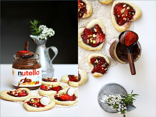 Nutella Strawberry Puff Pastry Hearts