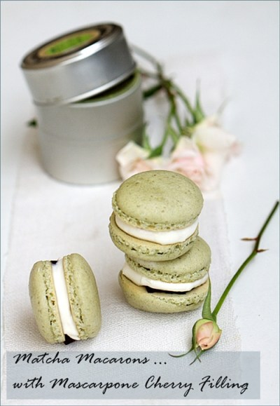 Matcha Macarons with Preserved Brandied Cherries & Mascarpone