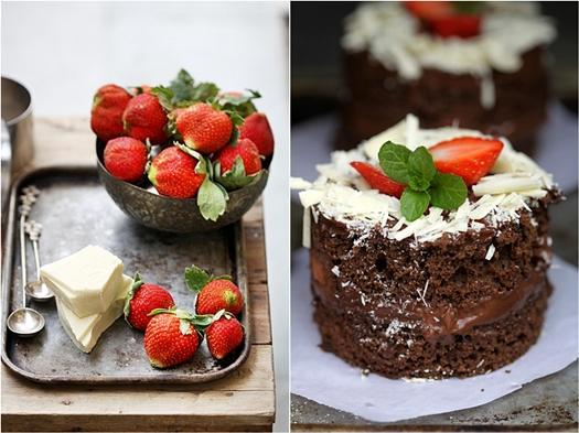 Dark Chocolate & Strawberry Mini Cloud Gateaus