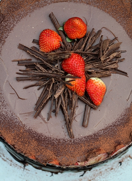 Chocolate Bavarian Mousse Strawberry Cake