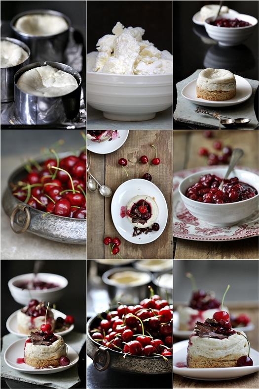 Mini Quark Vanilla Cheesecakes with Balsamic Cherry Sauce