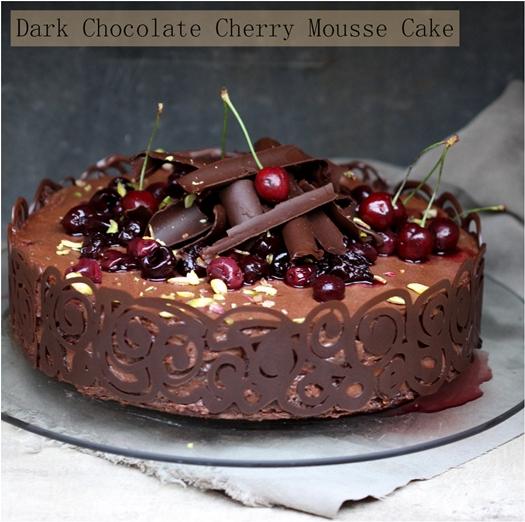 Baking  Dark Chocolate Cherry Mousse Cake #lovestonefruit